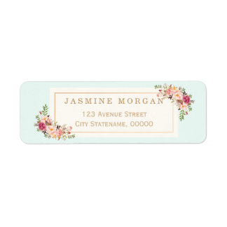 Graceful Pastel Watercolor Floral Decoration Return Address Label