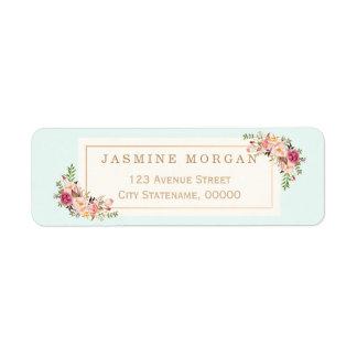 Graceful Pastel Watercolor Floral Decoration Return Address Label