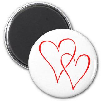 Graceful Red Interlocking Hearts 6 Cm Round Magnet
