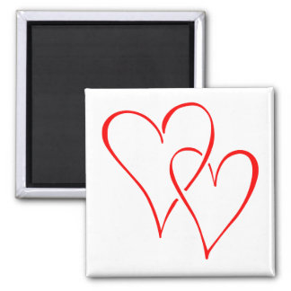 Graceful Red Interlocking Hearts Square Magnet