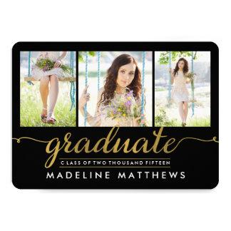 "Graceful Script Editable Color Graduation Invite 5"" X 7"" Invitation Card"