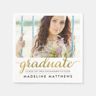 Graceful Script Photo Graduation Napkins Disposable Serviette
