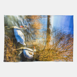 Graceful Swans Tea Towel