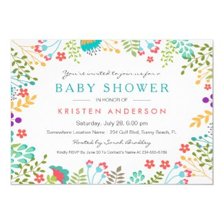 Graceful Tiffany Blue Floral Cute Baby Shower 13 Cm X 18 Cm Invitation Card