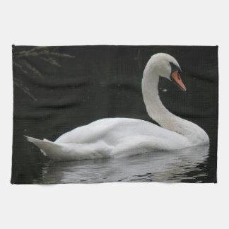 Graceful White Swan Kitchen Towel