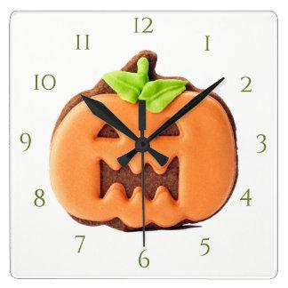 Gracefull Orange Pumpkin Square Wall Clock