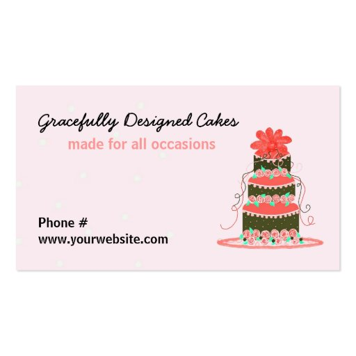 Gracefully Designed Wedding Cake Business Card Templates
