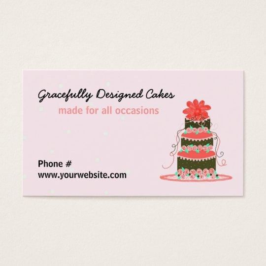 Gracefully Designed Wedding Cake Business Card