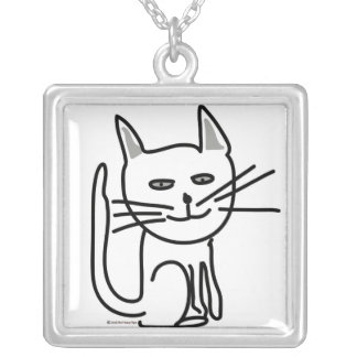 Gracey's Happy Cat! Silver Plated Necklace