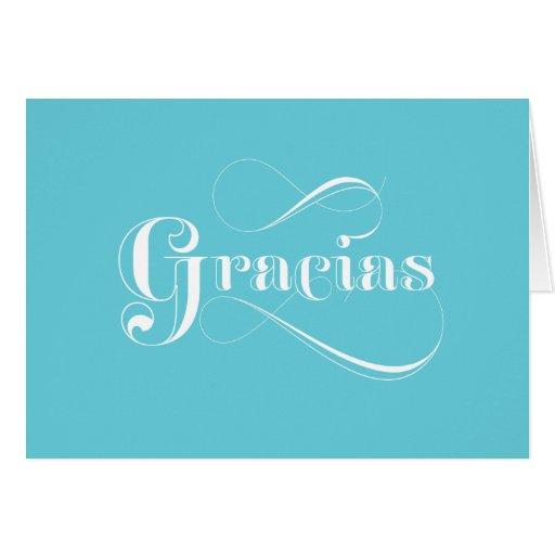 gracias blue spanish thank you cards  zazzle