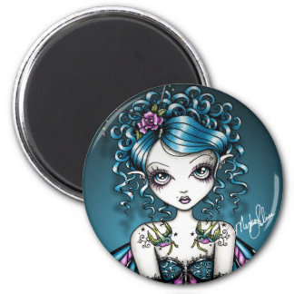 Gracie Gothic Couture Swallow Tattoo Fairy 6 Cm Round Magnet