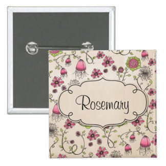 Gracious pink flowers with frame for name 15 cm square badge