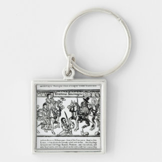 Gracious Sovereign, c.1631 Silver-Colored Square Key Ring