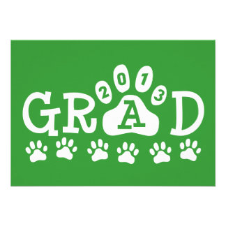 GRAD 2013 PAWS Green and White Personalized Announcement