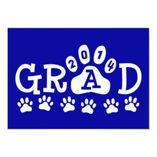 GRAD 2014 Blue and White PAWS Graduation 5x7 Paper Invitation Card