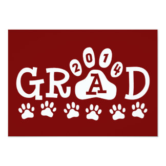 "GRAD 2014 Invitations Maroon Grey Paws Graduation 5"" X 7"" Invitation Card"