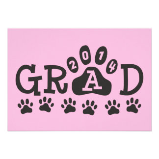 GRAD 2014 PAWS Pink Black Invitations Announcement Cards