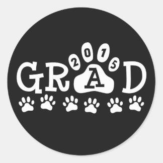 GRAD 2015 Black and White PAWS - Cute Graduation Round Sticker