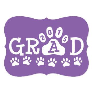 GRAD 2015 Invitations Purple Paws Graduation
