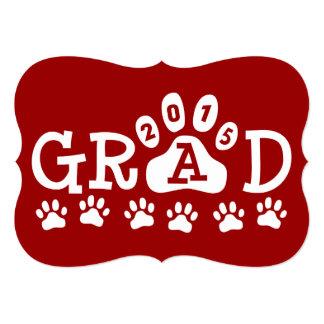 GRAD 2015 Invitations Red Paws Graduation
