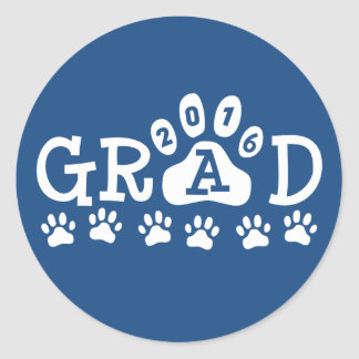 GRAD 2016 Blue and White PAWS - Cute Graduation Round Sticker