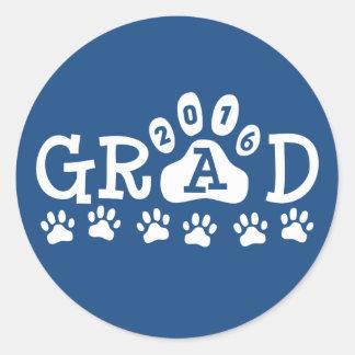 GRAD 2016 Blue and White PAWS - Cute Graduation Round Sticker