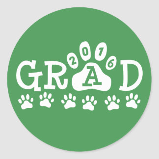 GRAD 2016 Green and White PAWS - Cute Graduation Round Sticker