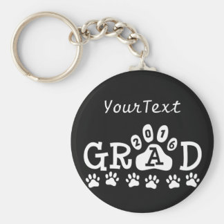 GRAD 2016 Paw Print © Theme Graduation Basic Round Button Key Ring