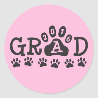 GRAD 2016 Pink and White PAWS - Cute Graduation Round Sticker