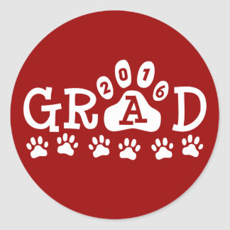 GRAD 2016 Red and White PAWS - Cute Graduation Round Sticker