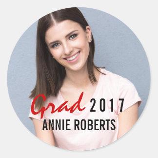 Grad 2017 handwritten modern graduation photo classic round sticker