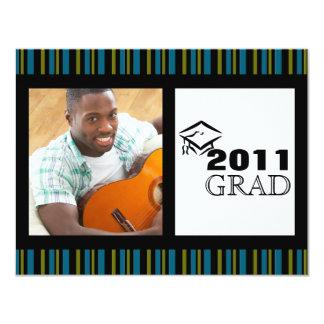 Grad Announcement - Blue, Green, & Black Stripes