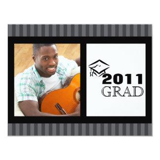 Grad Announcement - Grey Black and White Stripes
