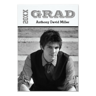 Grad Black/White - 3x5 Graduation Announcement