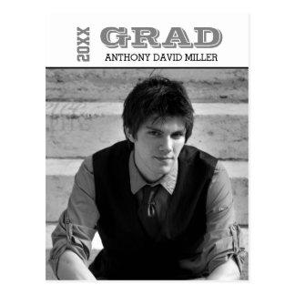 Grad Black/White- Graduation Announcement Postcard