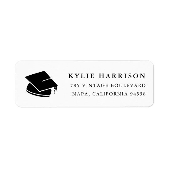 Grad Cap | Black & White Graduation Return Address