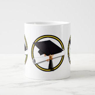 Grad Cap Diploma 1 Gold Black Extra Large Mug