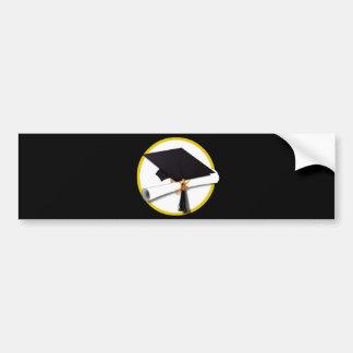 Grad Cap & Diploma - Black Background Bumper Sticker