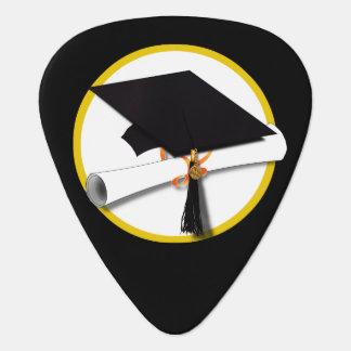 Grad Cap & Diploma - Black Background Guitar Pick