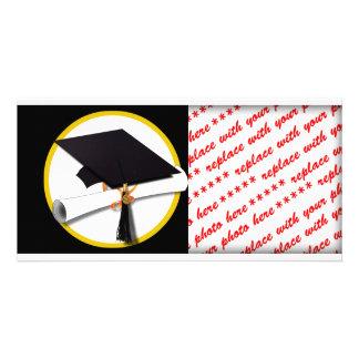 Grad Cap & Diploma - Black Background Photo Greeting Card