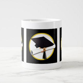 Grad Cap Diploma - Black Background Extra Large Mug