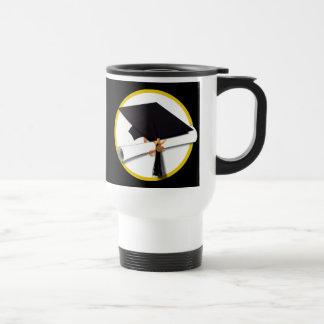 Grad Cap & Diploma - Black Background Stainless Steel Travel Mug