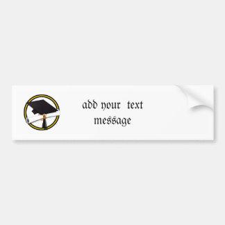 Grad Cap & Diploma - Gold and Black School Colors Bumper Sticker