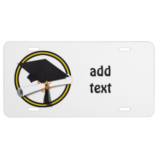 Grad Cap & Diploma - Gold and Black School Colors License Plate
