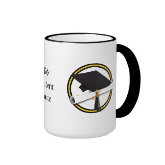 Grad Cap & Diploma - Gold and Black School Colors Ringer Coffee Mug
