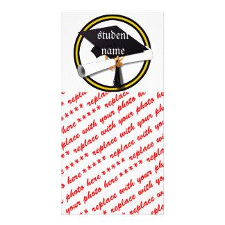 Grad Cap & Diploma - Gold and Black School Colors Custom Photo Card