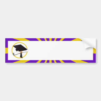 Grad Cap & Diploma - Purple and Gold School Colors Bumper Sticker