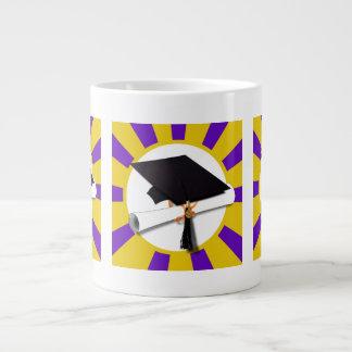 Grad Cap & Diploma - Purple and Gold School Colors Jumbo Mug