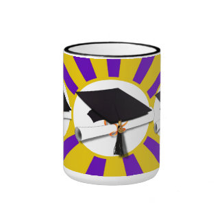 Grad Cap & Diploma - Purple and Gold School Colors Ringer Mug