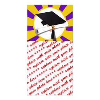 Grad Cap & Diploma - Purple and Gold School Colors Photo Card